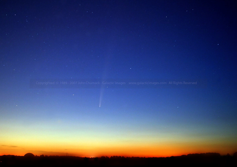I took this image of Comet Bradfield from Dayton-Yellow Springs Road this morning at about 5:40 am. Looking East- Northeast just before sunrise on 4/27/04. Canon 10D Digital Camera ISO 400 with a 20mm lens at F 4.5 for four 30 second exposures.