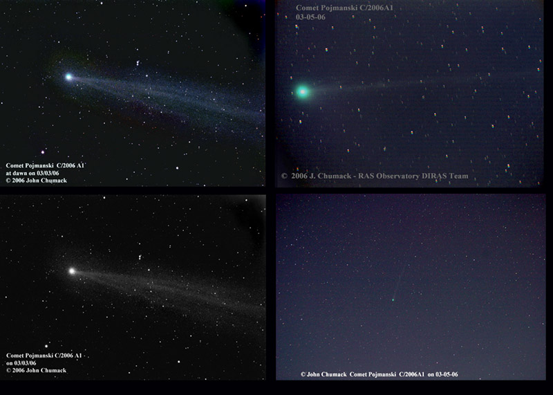 New Comet Pojmanski C/2006A1 03-05-06 currently visible at 5.5 magnitude due East just before dawn.