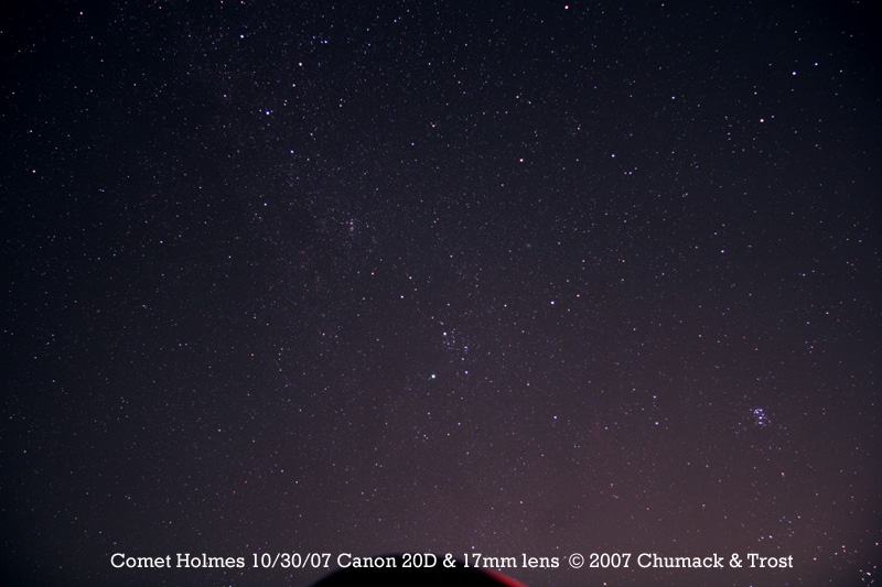 Comet 17P/Holmes super wide angle image showing the comet in the constellation of Perseus taken on 10/30/07.