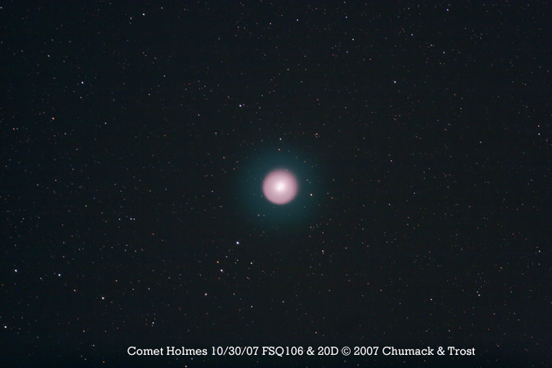 Comet 17P/Holmes outer faint halo visible, semi-wide field image taken on 10/30/07.