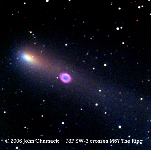 Comet 73P Schwassmann-Wachmann 3 sweeps over M57 The Ring Nebula on 2006-05-08 at 03:44:26.734 U.T.