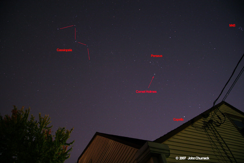 Comet 17P/Holmes Photographic Finder Chart as seen from the city of Dayton, Ohio on 10/29/07