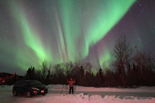John under the Aurora Borealis outside Fairbanks, Alaska