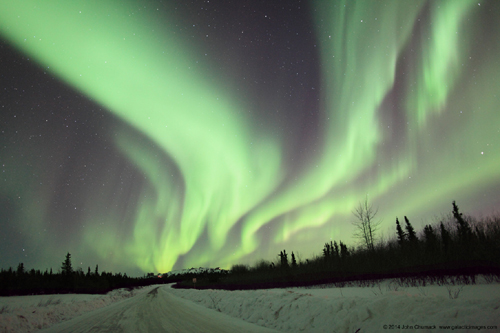 "The ""Northern Lights"" Classic Green Waves of Aurora Borealis rippling through the sky in 2014"