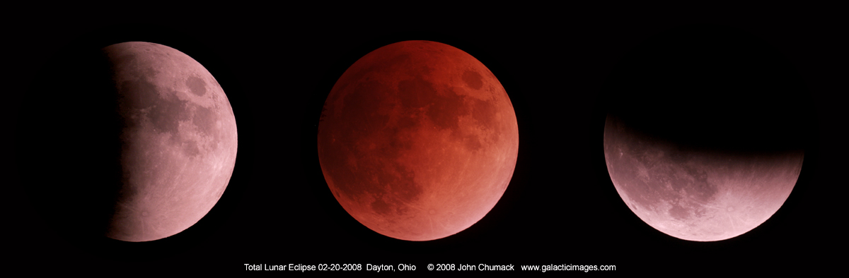 "Total lunar eclipse sequence on 02/20/2008 with a 6"" scope & Canon 20D DSLR."