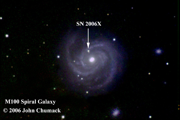 The arrow points to the new bright type Ia Supernova (SN 2006X) in M100 Spiral Galaxy in Coma Berenices. The Supernova 2006X in this 51-minute exposure taken on 02/12/06 is at 14.5 magnitude, it's on the rise up from 17th mag at discovery on 02/04/06 and is expected to reach 11.5 magnitude. M100 is a Mag 10.2 Sc type Spiral Galaxy in Coma Berenices. It is approximately 7.5' x 6.4 arc minutes in size. M100 Galaxy is estimated to be about 110,000 Light years across.M100's distance is approximately 56 Million Light years away. There are two other galaxies visible in the field of view which are NGC-4322 - bottom and NGC-4328 - right.