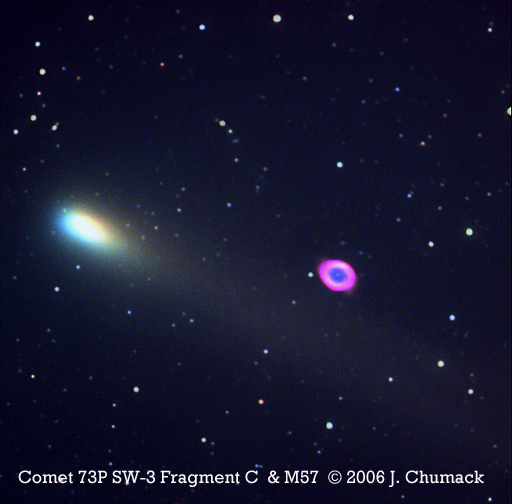 Comet 73P Schwassmann-Wachmann 3 Passes M57 The Ring Nebula on 05-08-06 04:06:40.692 U.T.