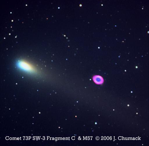 Comet 73P Schwassmann-Wachmann 3 Passes M57 The Ring Nebula on 05-08-06 04:06:40.692 U.T.