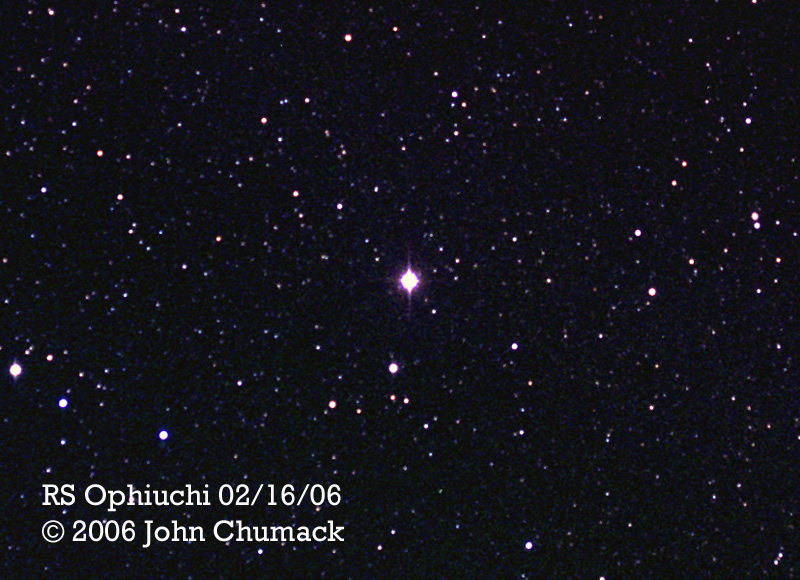 1744-06 RS Ophiuchi (NR) Recurrent Nova in Outburst at 5.3 magnitude on 02/16/06The brightest star at the center of this image - Naked Eye at discovery it reached 4.5 magnitude up from 12th magnitude.RS Ophiuchi is in the constellation of Ophiuchus at coordinates RA: 17h 50m 13s, DEC: -06d, 42m, 30s