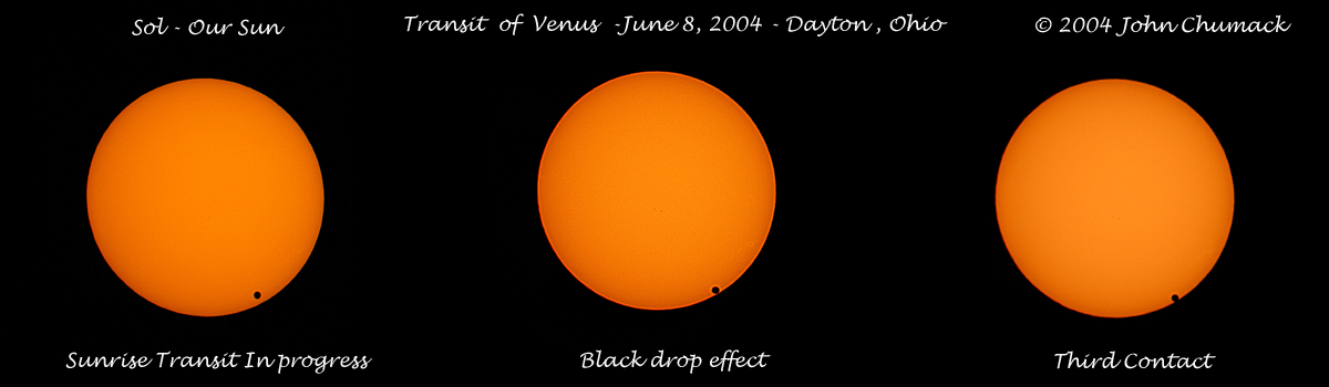 "I took this image of The Venus Transit this morning at 6:30 am - 7:07 am at sunrise on 6/08/04. Canon 10D Digital Camera ISO 100 with an 8"" F5.5 for 1/500 second exposures."