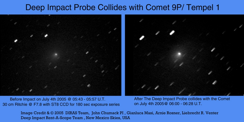 Deep Impact Probe Collides with Comet 9P/Tempel 1
