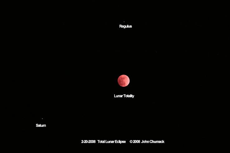 Total lunar eclipse wide angle 125mm lens lunar eclipse showing the planet Saturn & bright star Regulus-Alpha Leo on 02/20/2008.
