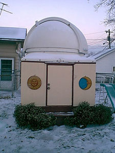Backyard observatory in winter