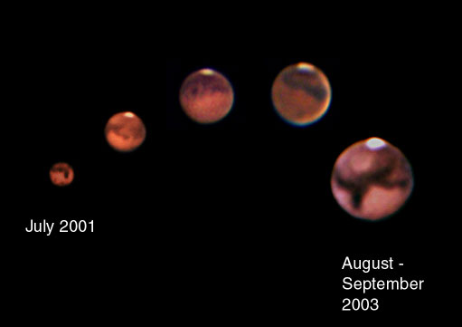 Mars Opposition 2003. Closest approach in 60,000 years.