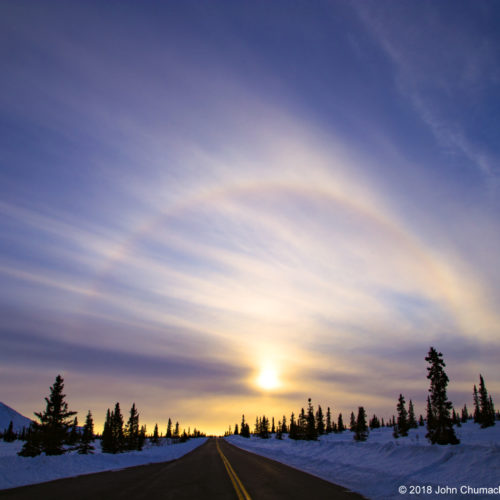 22 Degree Solar Halo in Denali National Park, Alaska