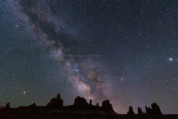 Milky Way over rock spires at Arches