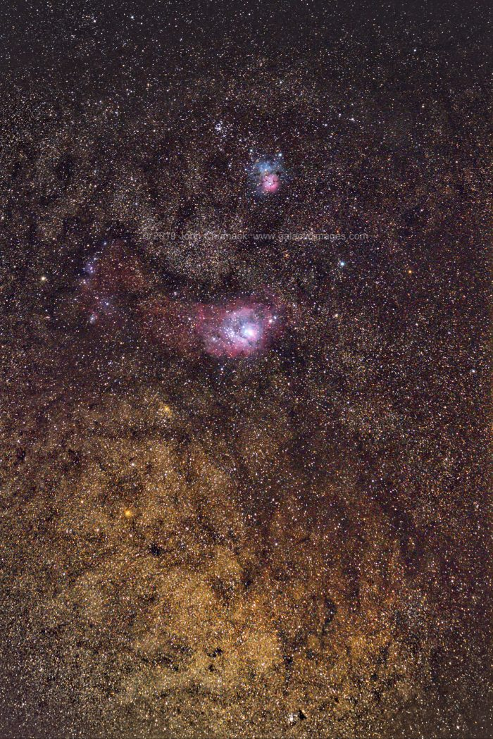 M8, M20, M21 with Golden Glow of the Galactic Center