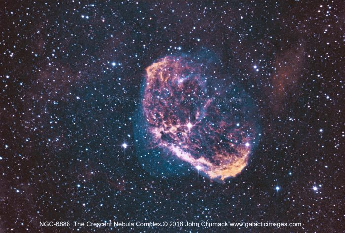The Crescent Nebula in H-Alpha & Oxygen III Narrow Band light.