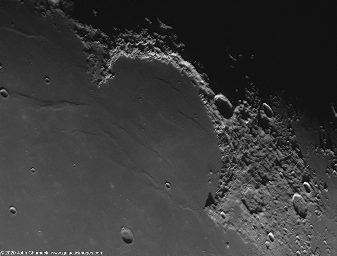 The Bay of Rainbows(sinus Iridum) and Juru Mountains