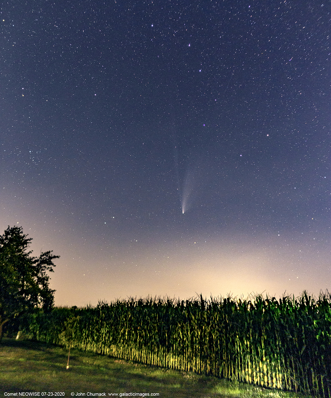 Comet NEOWISE C/2020 F3 in the Evening sky on 07-23-2020 overlooking an Ohio Cornfield