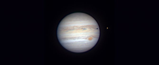 Jupiter and The Great Red Spot with Moon Io and Io Shadow Trans