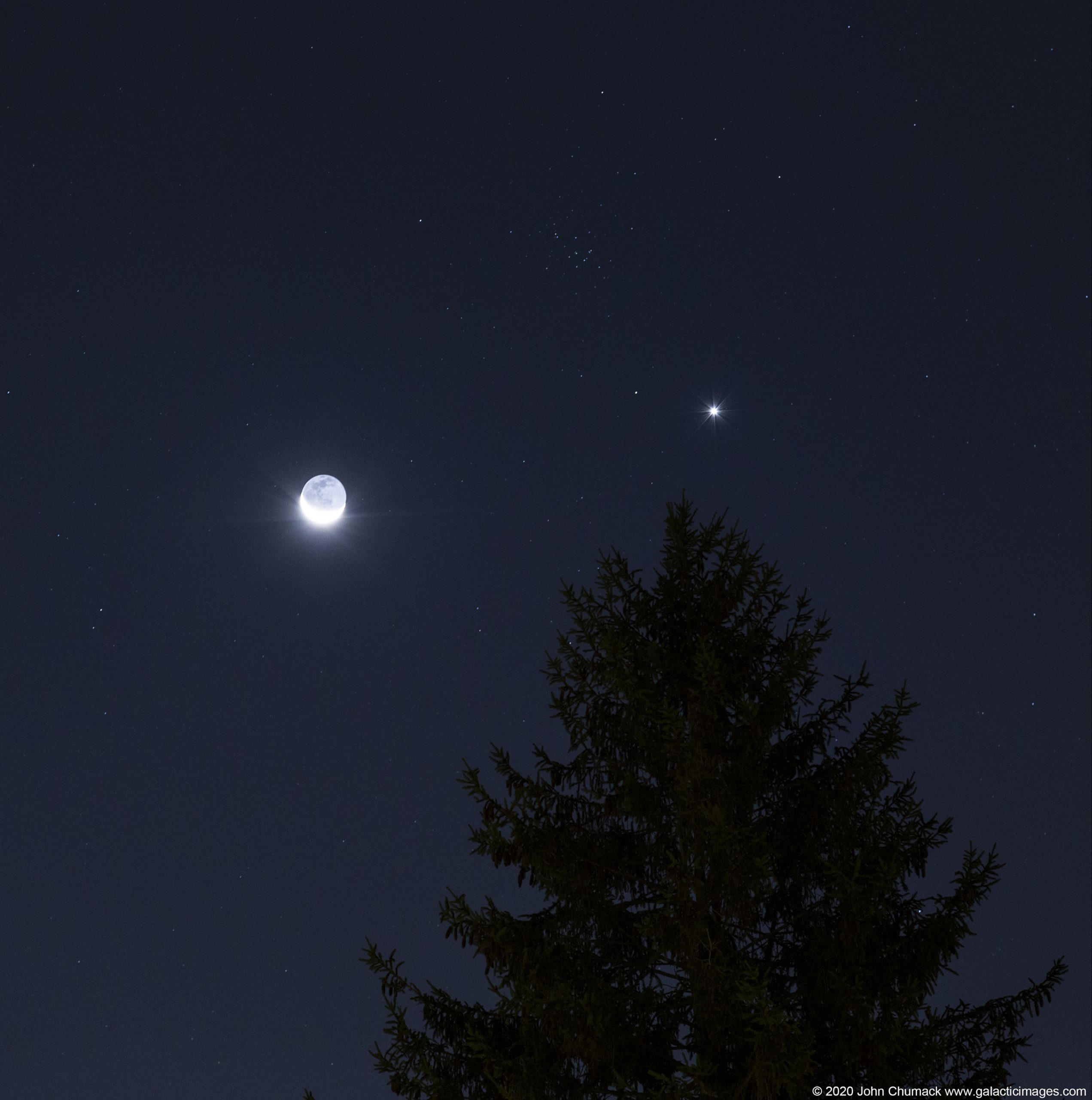The waning crescent Moon and The Planet Venus and the Beehive Cluster joining together in the early morning sky on 09-14-2020