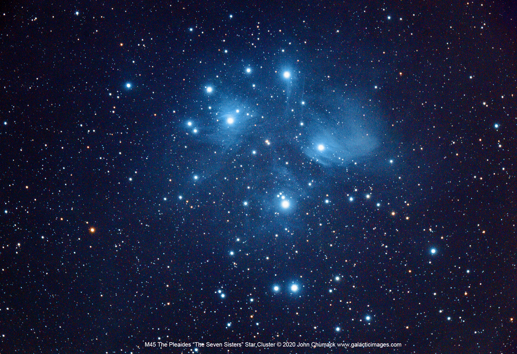 M45 Pleaides The Seven Sisters star Cluster in Taurus