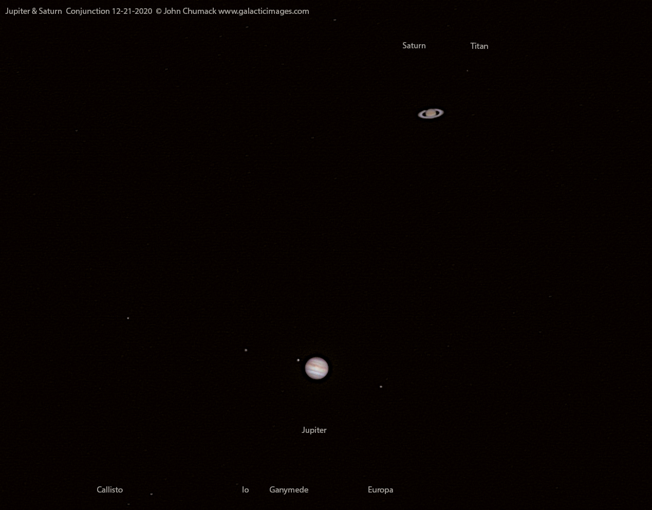 Jupiter and Saturn Conjunction on 12-20-2020 through a telescope