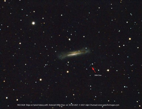 NGC-3628 Edge on Spiral Galaxy with Asteroid 3906 Chao