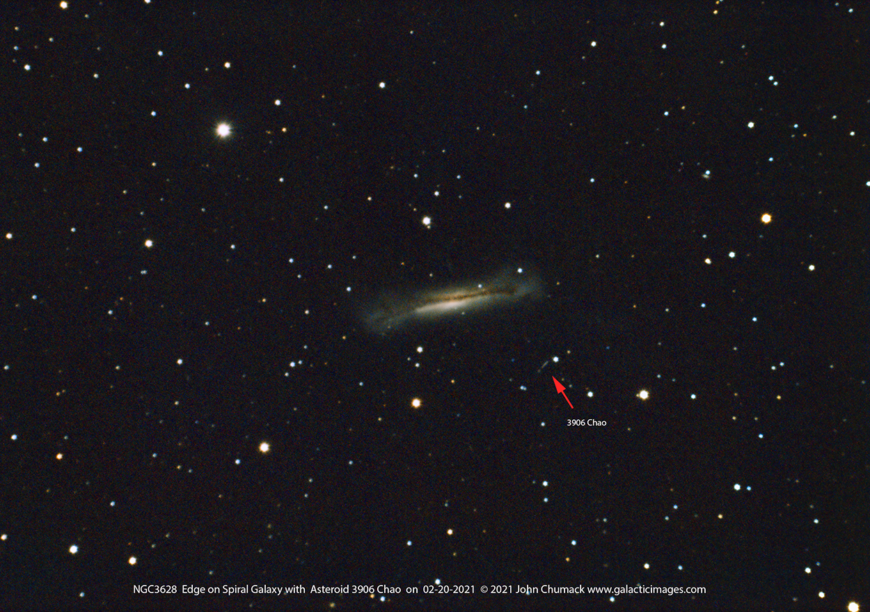 NGC3628 Edge on Galaxy with Asteroid 3906 Chao