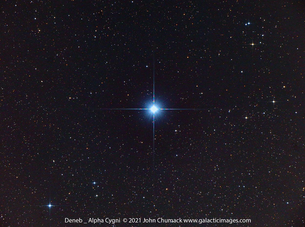 Bright Star Deneb, Brightest Star in Cygnus, Alpha Cygni, Part of the Summer Triangle of Bright Stars,