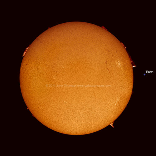 Hydrogen Alpha Sun Mosaic w/Earth scale