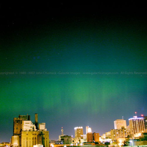Aurora Borealis Photo over the city of Dayton, Ohio