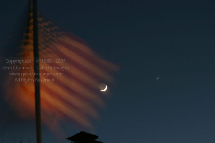 Flag, Moon, and Venus Photos