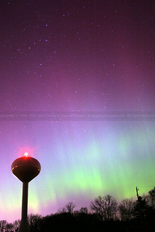 Aurora Borealis photo & Cassiopeia over Water Tower
